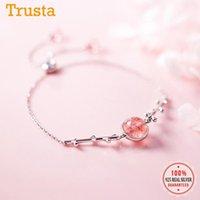 Ссылка, цепочка TrustDavis минималистский 925 стерлингового серебра серебро 925 розовый клубничный кристалл браслет для женщин ювелирные изделия DS26771