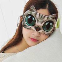1 pcs masque de couchage 3D mignon dessin animé chat chien dormant masque oculaire masque oculaire couvercle molle portable animal bandes oculaire couvre oculaire oculaire