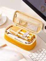 Канцтовары холст карандаш чехол двойной слой большая емкость карандаш коробка милый карандаш для детей мальчиков перо буксир школьные принадлежности