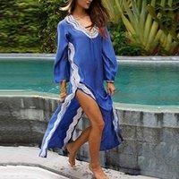 Женские купальники плюс размер пляжа длинное платье женщин покрытие туника Pareo белый V шеи халат купальный костюм пляжные одежды # 31