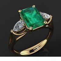 14k joyería de oro verde esmeralda anillo para las mujeres Bague Diamant Bizuteria Anillos de Pure Emerald Gemstone 14k anillo de oro para las hembras Y1119