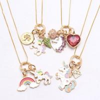Fashion Rainbow Coeur Starfish Licorne Pendentifs Collier Enfants Filles Charmante Pendentif Longue Chaîne Collier Mignon Bijoux pour enfant