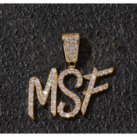 A-Z Nombre personalizado cepillo letras de fuente personalizar colgante collar cadena oro plata bling zirconia hombres hip hop colgante joyería v49VT