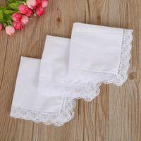 Regalos de boda fino pañuelo mujer blanca de encaje decoración del partido servilletas de tela en blanco llana DIY pañuelo los 25 * 25cm w-00382