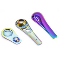 New sell like hot cakes Colorful Stainless Steel Spoon Pipe Creative Detachable Spoon Shape Metal Pipe Silicone Pipe Sherlock