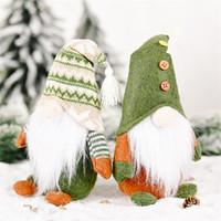 Новый год с Рождеством Подвеска безликий Санта Зеленый Gnome плюшевые куклы украшения Xmas таблицы дерева украшения Детские игрушки Подарочные JK2010XB