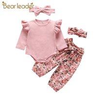 Lear Leader Newborn Baby Цветы Одежда Одежда Мода Малышей Девушки Симпатичные Цветочные Костюмы Костюмы с длинным рукавом С Обучением повязки LJ201221