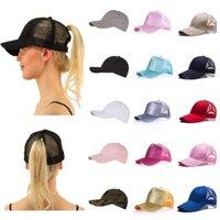 Berretti a sfera 2021 Cappello da baseball glitter Cappellino regolabile Snapback Cappelli da padre per le donne Messy Bun Sports Hip Hop Mesh Hat1