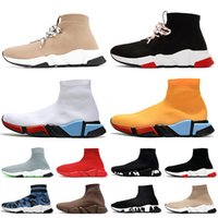 Toptan Bağcıklar Graffiti Çorap Ayakkabı Luxurys Tasarımcılar Kadın Erkek Rahat Ayakkabılar Trialler Vintage Bayan Çizmeler Erkek Çorap Eğitmenler ACE Sneakers