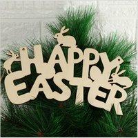 Fröhliche Ostern Kaninchen Anhänger Holz Handwerk Ornament Holz Buchstaben DIY Hängende Anhänger Nette Bunny Ostern Dekoration Party Supplies E122504