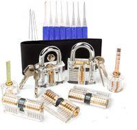 Serrures transparentes de 7 pcs avec 17 pcs Set de verrouille, 10pcs Combinaison d'outils d'extracteur à clé cassée, kit d'alimentation de serrurier