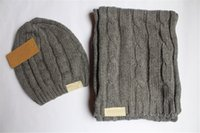 Hombres mujer marca bufanda sombrero traje de dos piezas invierno invierno cálido sólido bufanda hat diseñador tejer bufanda clásico conjuntos de gorro