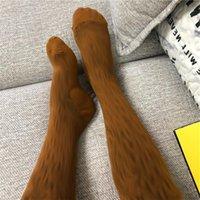 Luxus warme Marke Briefe Lange Frauen Designer über Knieschenkel Hohe Strümpfe Socken Strumpfhosen Strumpfhosen