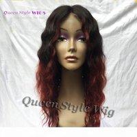 Heiße billig 100% brasilianische lockige Haarperücke weiche glatte reine menschliche haare halb handgebunden spitze frontperücken schwarz ombre dunkelrot burgund