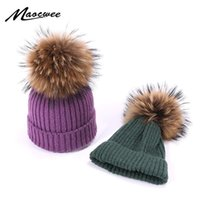 Winter Cute Wool Beanie Hats With Real Pompons For Children ...