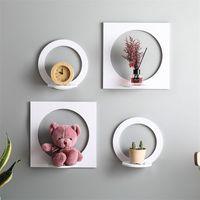 OTHERHOUSE 4Pcs Set Shelves Wall Shelf White Wood Display Storage Rack Room Organizer Ornament Holder Home Decoration T200413