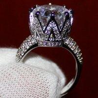 빅토리아 Wieck 8CT 큰 돌 놀이는 925 스털링 실버는 여성들 토파즈 시뮬레이션 다이아몬드 결혼 크라운 반지를 작성