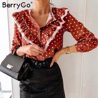 BerryGo Polka dot vintage blouse shirt women Spring summer long sleeve lace top Elegant work wear casual ladies shirt top blusas 201016