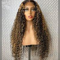 Цветные ombre 5 * 5 '' Silk Top Haper Hair Gooklight Brown Mody Blonde Brazilian 13 * 6 Глубоко вьющиеся Кружева Парик 150 Плотность Remy