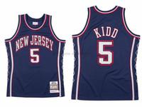 Özel Erkekler Wome Kid Basketbol Brooklyncity Team Jason 5 Kidd Mitchell Ness 2006-07 Sert Ağaçlar Klasik Retro Jersey
