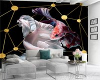 Luxury 3d Wallpape 3d Wallpaper Wall Beautiful Red and White Fish Indoor TV Background Wall Decoration 3d Mural Wallpaper