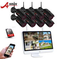 Sistemler Anran P2P 8CH 15 inç LCD Monitör NVR 2.0MP 36IR Açık 1080 P Gece Video IP Kablosuz Kamera Güvenlik Sistemi 1/2/3TB HDD