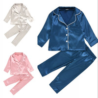 80-130 Kinder Kinder Seide Pyjamas Jungen Mädchen Kleinkind Langarm Rock Top + Hosen Nachtwäsche Seidekomfort Nachtwäsche Kinder Home Kleidung 444 K2