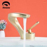 Shinesia escovado torneira de bacia dourada para barco de bathroon pia quente e frio arco forma de arco estilo nórdico 6 cores misturador taps1