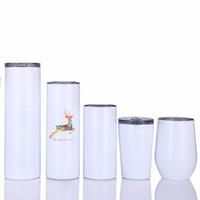 15oz 20oz 30oz التسامي نحيل بهلوان مع غطاء القش فارغة كأس أبيض الفولاذ المقاوم للصدأ كؤوس فراغ القهوة القدح LLA121