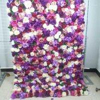 장식 꽃 화환 스프 롤 헝겊 꽃 벽 4ft * 8ft 인공 결혼식 행사 배열 장식 1