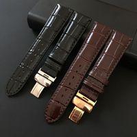 Sangle de montre pour Tissot PRC200 T17 T41 T461 T099 19mm Argent Botterfly Boucle Véritable Cuir Bands Bracelet 16mm 20mm 22mm