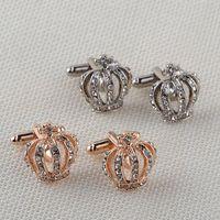 Crystal Gold Crown Cufflinks Мужская алмазная манжета Ссылки Кнопка для официальной деловой рубашки Костюм Мода Ювелирные Изделия будут и Сэнди Новый