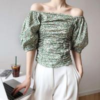 Blouses Femmes Chemises Woherb 2021 Sexy Of Epaule Crop Crop chemisier Femmes Sleeve Pleased Floral Print Blusas coréenne chic chic