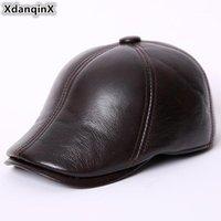 Berets XDanqinx Clássico Inverno Middle-envelhecido homens de couro genuíno boné de couro de vaso de veludo quente Beret Bonés para homens1
