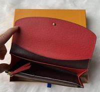 9 couleurs hommes unique Pocke zipper mode femmes portefeuille en cuir dame dames longue bourse avec carte boîte orange D60136