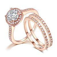 Nouvelle mode exquise rose or couleur trois pcs cristal doigts soces à doigts pour femmes remplies de bijoux de mariage de mariage zircon 2020