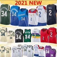 Giannis 34 AntetokounMPO Basketball-Trikots Lonzo 2 Ball Zion 1 Williamson 34 Allen NCAA Männer Kinder Retro Basketball Jersey