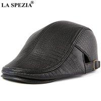Berets La Spezia 정품 가죽 검은 모자 남자 평면 모자 진짜 양모 베레모 봄 가을 남성 브랜드 조정 가능한 Gatsby Caps