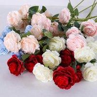 3 Köpfe Künstliche Blume Seide Pfingstrose Blumen Einzigen Zweig mit Blättern für Hochzeitstisch Mittelstücke Home Party Dekoration LXL1232