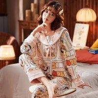 Bzel Carino Collare navy Pigiama Donne Kawaii Sleepwear da donna in cotone da donna Pijama Mujer Teen Girls Donne Casa Abiti da donna Abbigliamento Pigiama W1225