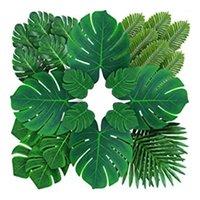 Dekoratif Çiçekler Çelenkler Palmiye Yapay Tropikal Monstera Yaprakları - 84 ADET 6 çeşit Büyük Küçük Yeşil Sahte Safari Orman Hawaiian Partisi1