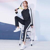 브랜드 여성 운동복 러닝 스포츠 정장 체육관 스웨터 + 바지 복장 스플 라이스 컬러 피트니스 운동 액티브웨어 Female1