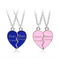 2021 Hot sale fashion geometric good friend Best Friends two petal heart stitching necklace zj-2231