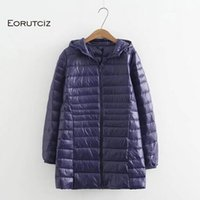 Eorutciz الشتاء طويل أسفل معطف المرأة زائد الحجم 7xl خفيفة جدا هوديي سترة خمر الدافئة الأسود الخريف بطة أسفل معطف LM143 201023