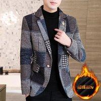 Ternos Masculinos Blazers Outono e Inverno Plus Pequeno Terno Pequeno Homens Versão Coreana Slim Moda Única Ocidental Jovem Lazer Lazer Woolen Jack
