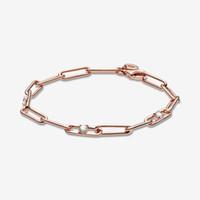 Nouvelle arrivée 100% 925-Sterling-Silver Link Chain Chain Stones Bracelet pour femme Mode Bijoux Saint Valentin