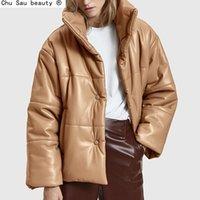 Chu Sau Beauty PU Sólido PU Cuero Cuero Parkas Moda Moda Alta Imitación Abrigos de cuero Mujeres elegantes gruesas chaquetas de algodón dama 210203