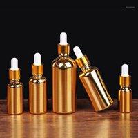 Boş damlalık şişesi parfüm uçucu yağlar için sıvı deodorantı makyaj kapları doldurulabilir altın renk kaplama1