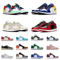 Hombres baratos Jumpman Low 1S 1 OG Zapatos de baloncesto Negro Mystic Green Unc Chicago Top 3 zapatos de mujer zapatillas deportivas