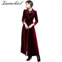 2019 봄 가을 부르고뉴 벨벳 X-Long Overcoat 여성의 노치 칼라 outwear 빈티지 발목 길이 두꺼운 맥시 트렌치 코트 1